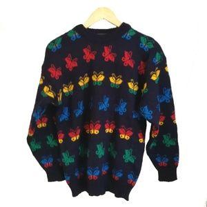 Vintage Wool Butterflies Wool Sweaters, size L